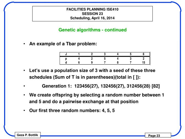 Genetic algorithms - continued