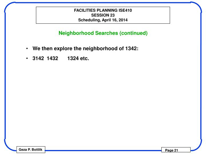 Neighborhood Searches (continued)