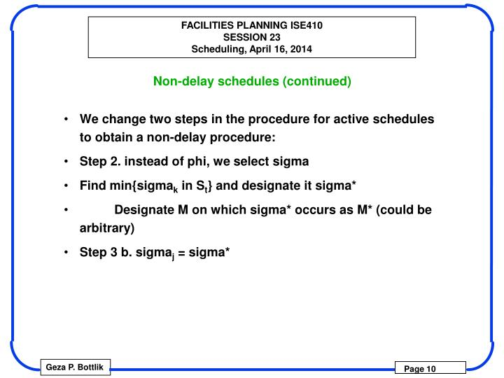 Non-delay schedules (continued)