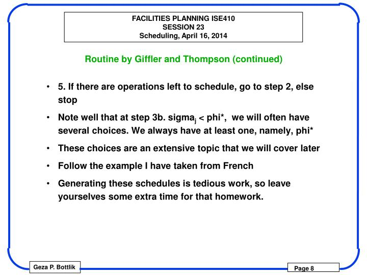 Routine by Giffler and Thompson (continued)