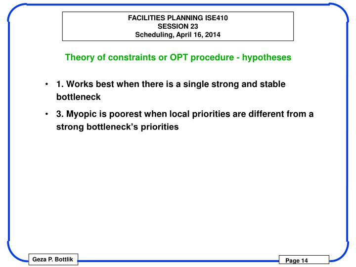 Theory of constraints or OPT procedure - hypotheses