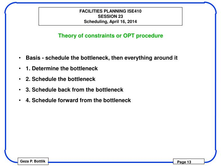Theory of constraints or OPT procedure