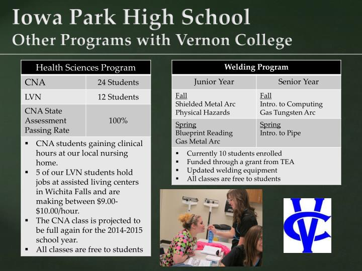 Iowa park high school other programs with vernon college