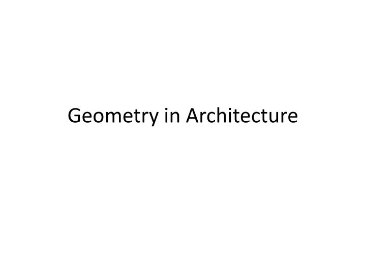 geometry in architecture n.