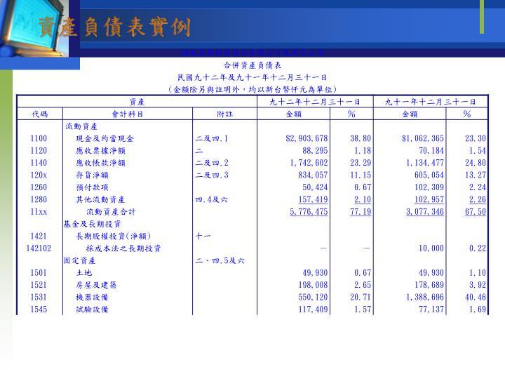 資產負債表實例