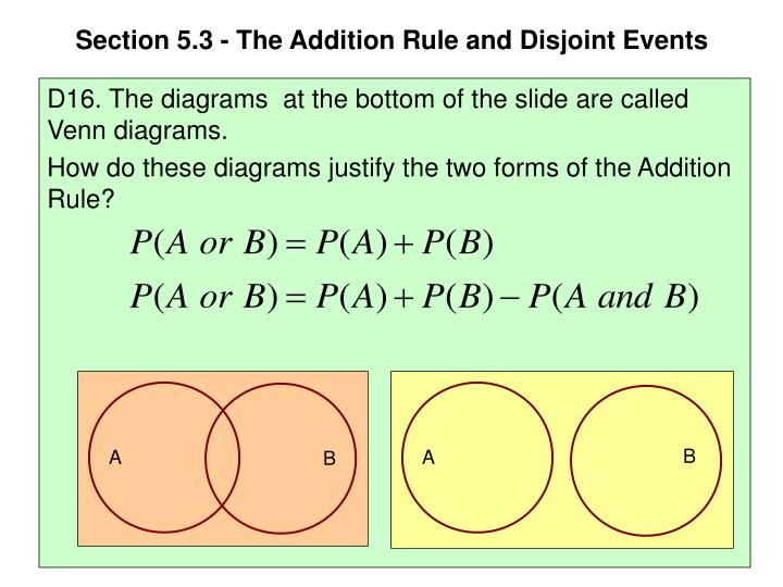 Ppt Section 53 The Addition Rule And Disjoint Events Powerpoint