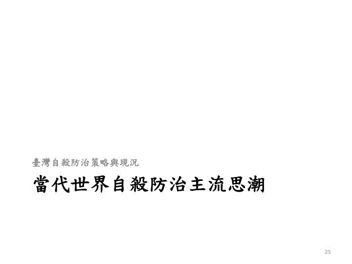 臺灣自殺防治策略與現況