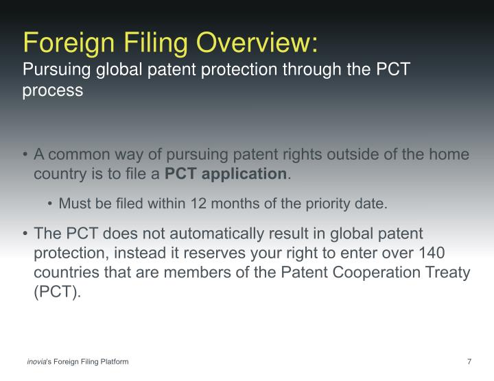 Foreign Filing Overview: