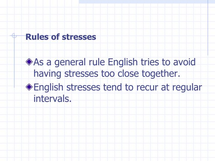 Rules of stresses