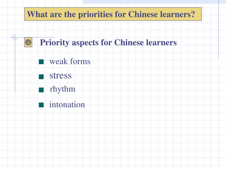 What are the priorities for Chinese learners?