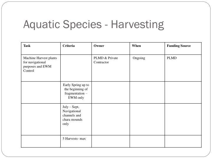 Aquatic Species - Harvesting