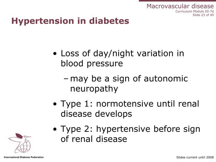 Hypertension in diabetes