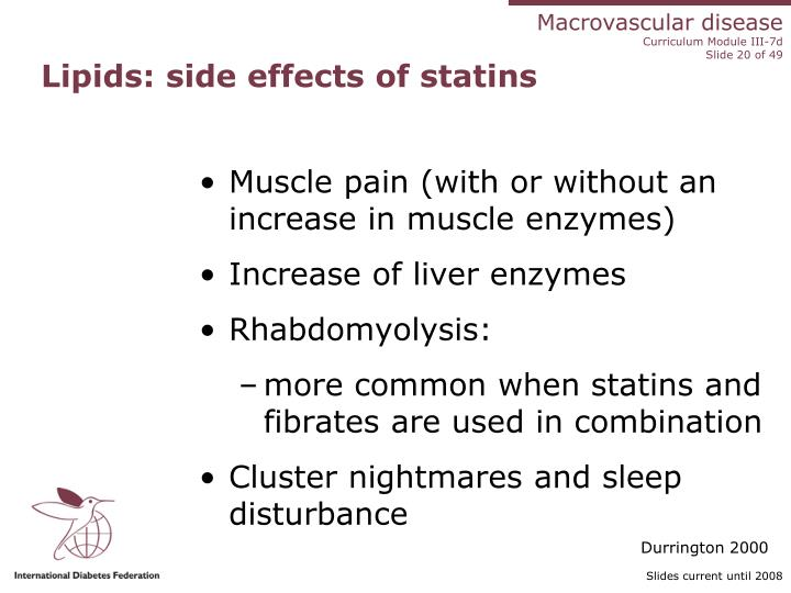 Lipids: side effects of statins