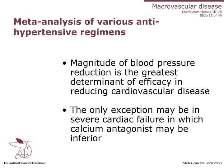 Meta-analysis of various anti-hypertensive regimens