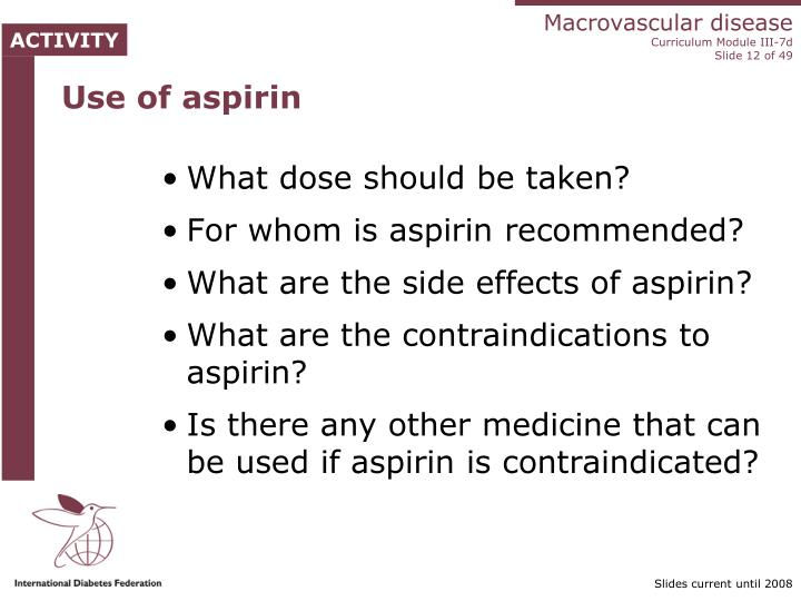 Use of aspirin