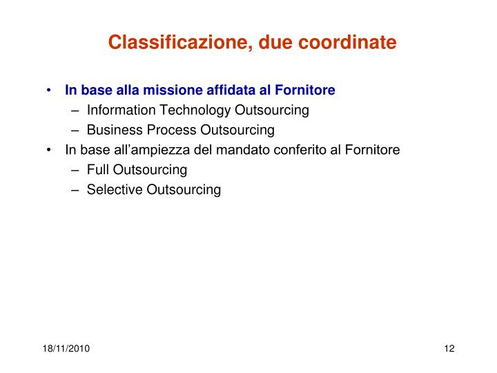 Classificazione, due coordinate