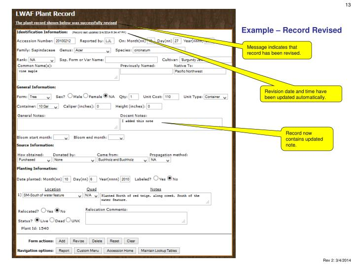 Example – Record Revised