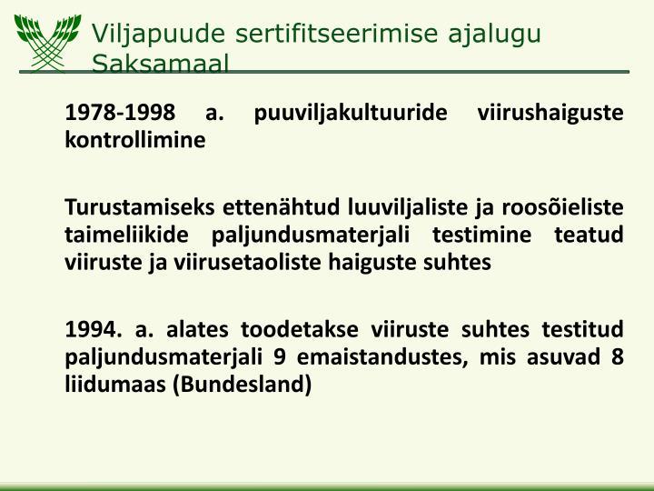Viljapuude sertifitseerimise ajalugu saksamaal