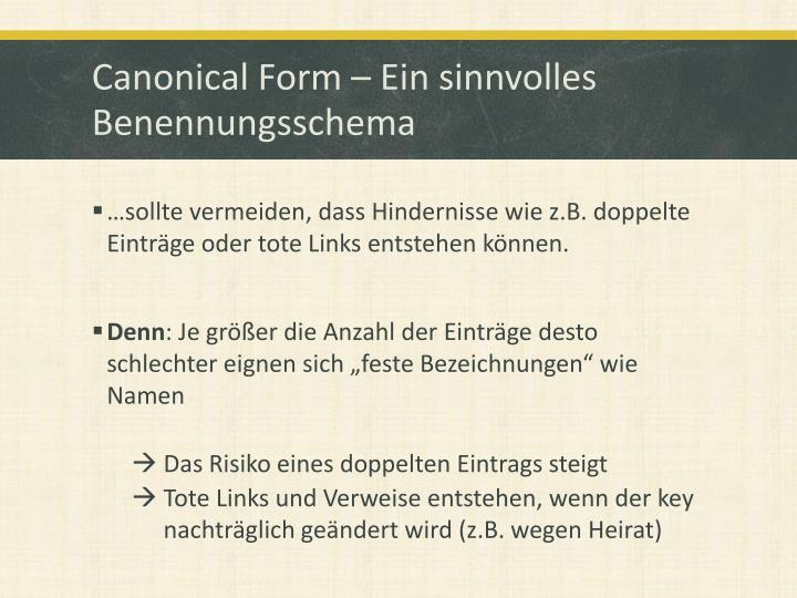 Canonical Form – Ein sinnvolles Benennungsschema