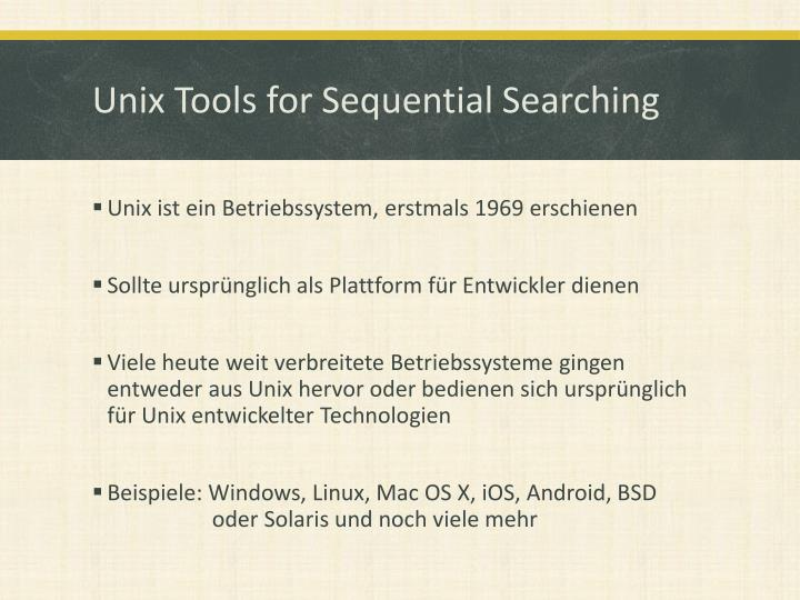 Unix Tools for Sequential Searching