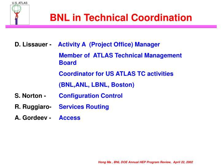 BNL in Technical Coordination