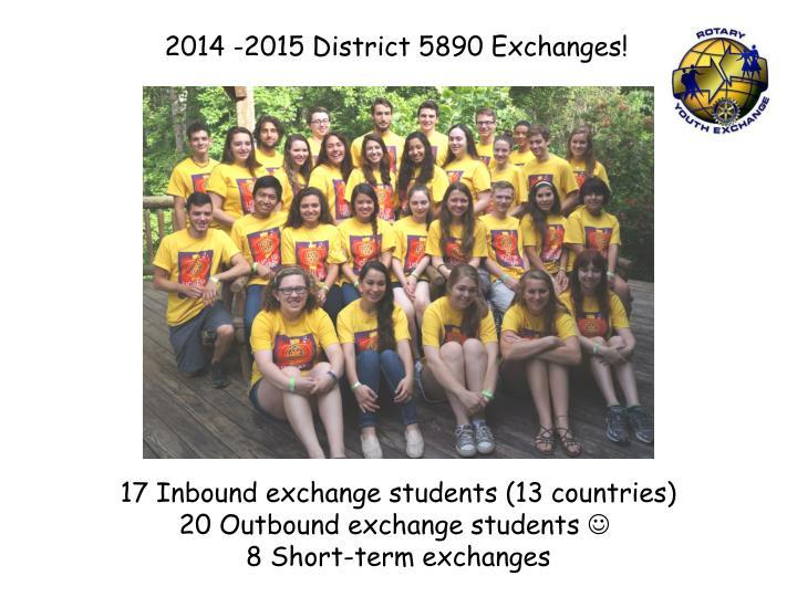 2014 -2015 District 5890 Exchanges!