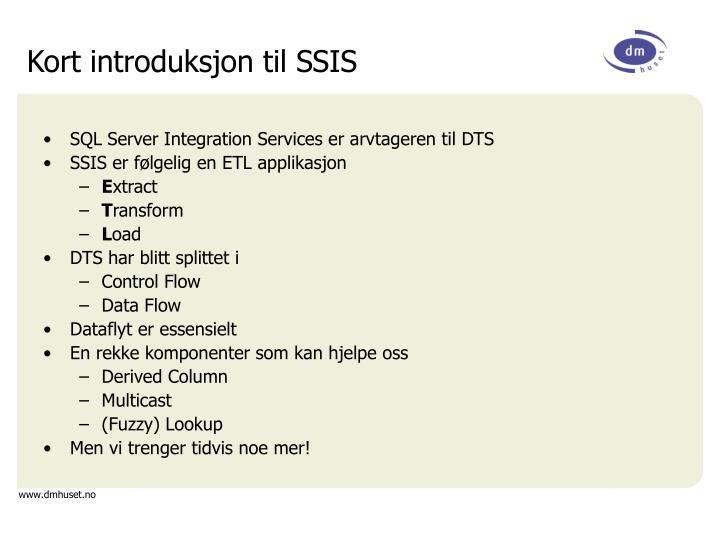 Kort introduksjon til SSIS