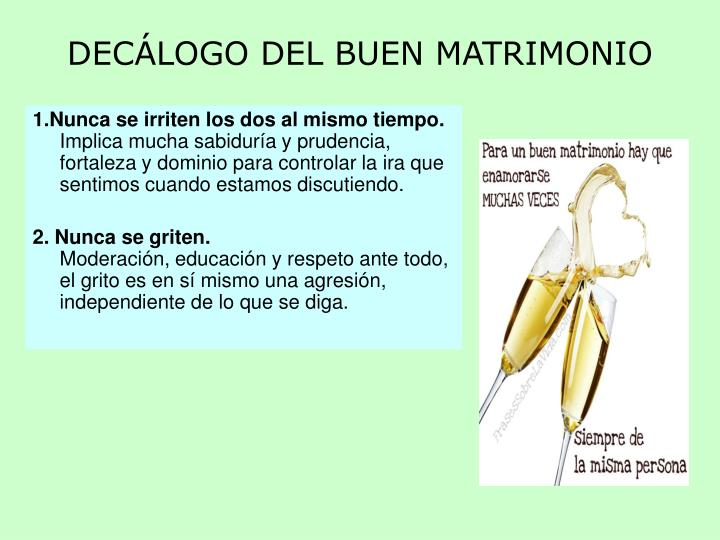 DECÁLOGO DEL BUEN MATRIMONIO