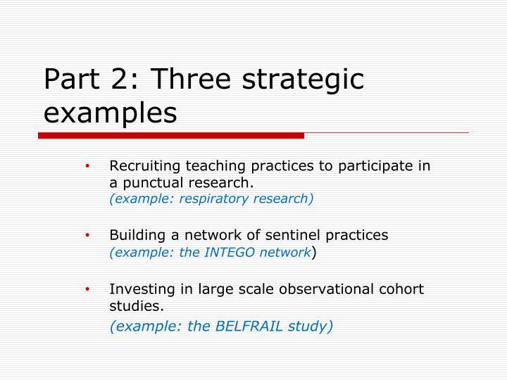 Part 2: Three strategic examples