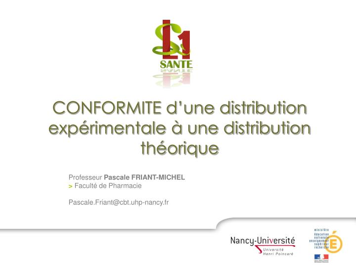 conformite d une distribution exp rimentale une distribution th orique n.