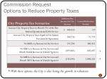 commission request options to reduce property taxes