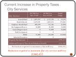 current increase in property taxes city services