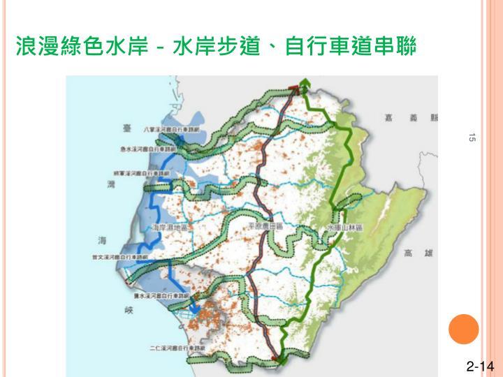 浪漫綠色水岸-水岸步道、自行車道串聯