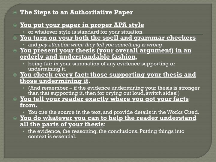The Steps to an Authoritative