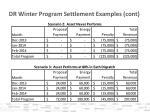 dr winter program settlement examples cont