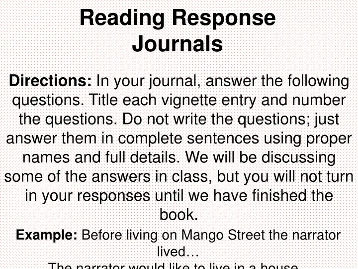 reading response journals n.