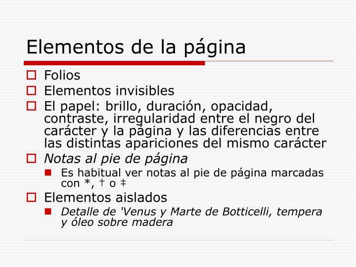 Elementos de la página