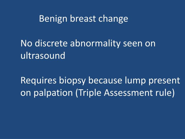 Benign breast change