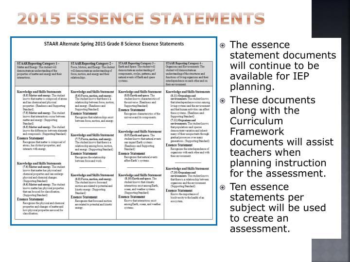 2015 Essence Statements