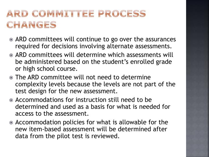ARD Committee Process Changes