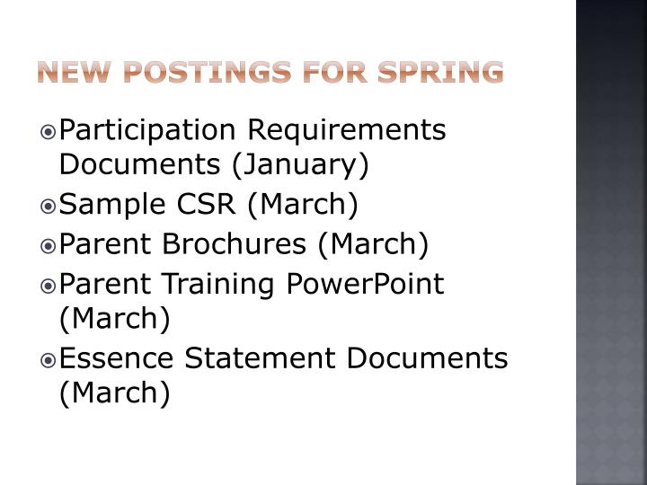 New Postings for spring