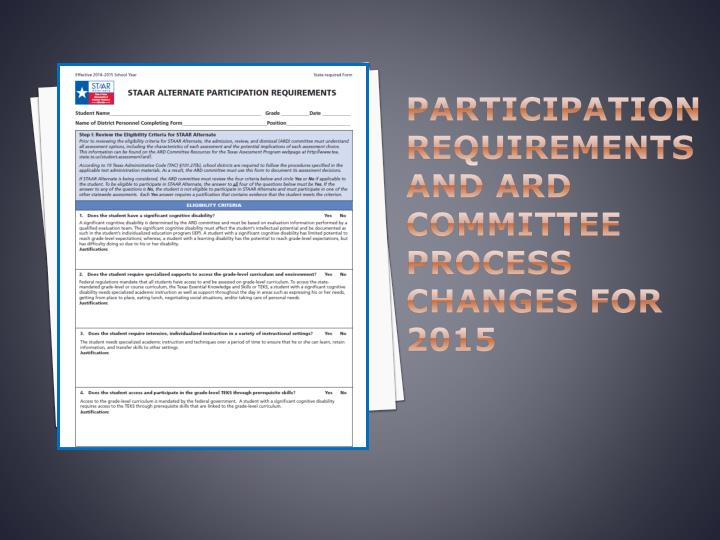 Participation Requirements and ARD Committee Process Changes for 2015