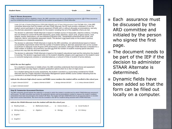 Each  assurance must be discussed by the ARD committee and initialed by the person who signed the first page.