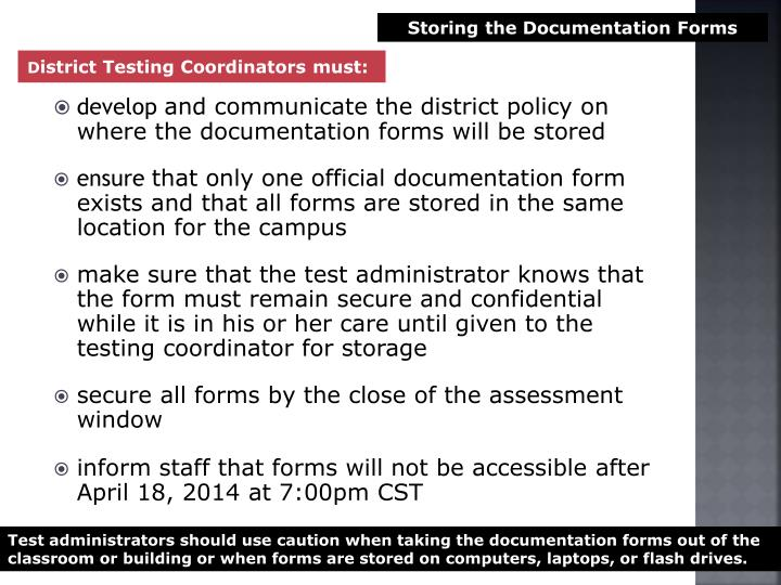 Storing the Documentation Forms