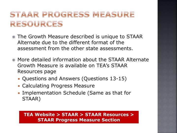 STAAR Progress Measure Resources
