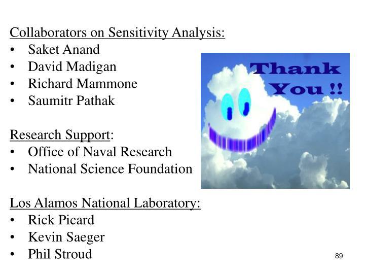 Collaborators on Sensitivity Analysis:
