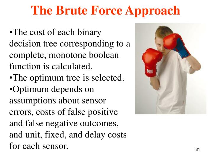 The cost of each binary decision tree corresponding to a complete, monotone boolean function is calculated.