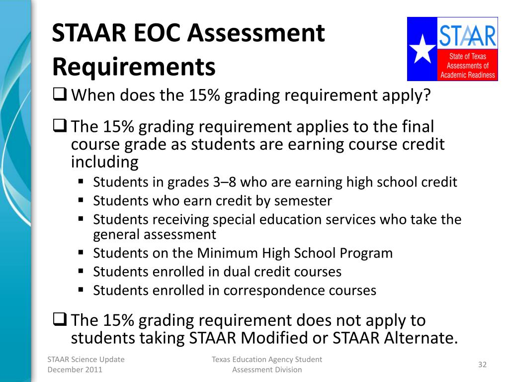 PPT - TEA Update on the STAAR Science Program PowerPoint