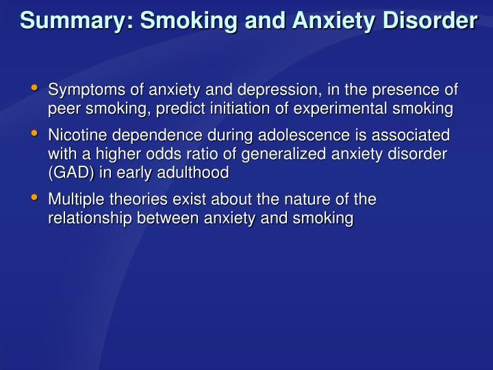 Summary: Smoking and Anxiety Disorder