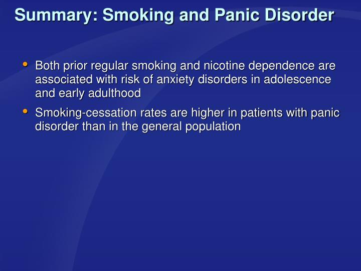 Summary: Smoking and Panic Disorder